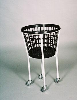 Vaskerivogn rund, med 4 hjul og 32 l kurv