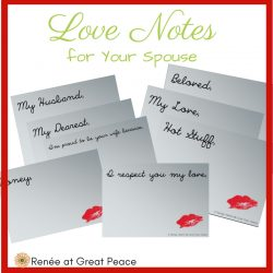 Love Notes Printables for your spouse | Marriage Moments with Renée at Great Peace