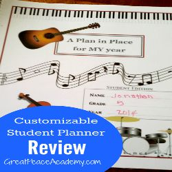 A customizable student planner from A Plan in Place, review at Great Peace Academy