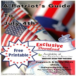 American 4th of July Study Guide FREE Printable Exclusive at Great Peace Academy