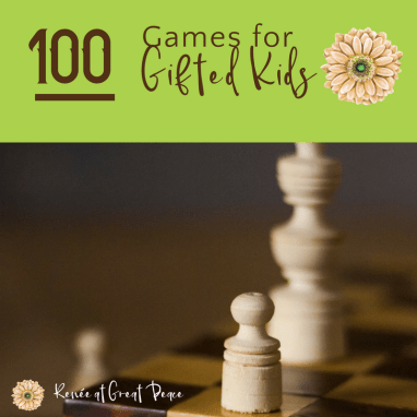 Challenge your students with 100 games for gifted kids. See this resource list at Renée at Great Peace #gifted #homeschool #games #ihsnet
