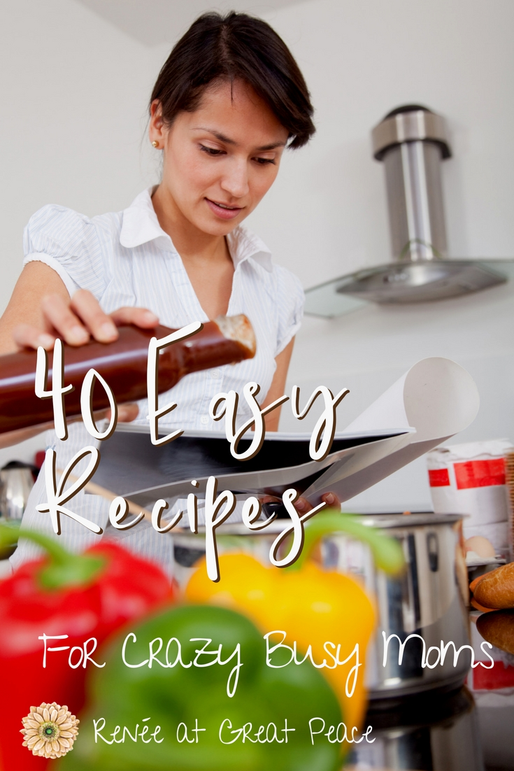 Easy Recipes for Crazy Busy Moms~I've collected at least 50 easy recipes to prep for freezer and crock pot meals for your family during those crazy busy times. | Renee atGreatPeace.com #mealplanning #moms #ihsnet