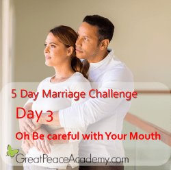 Marriage Challenge Day 3 Be Careful with Your Mouth   Great Peace Academy