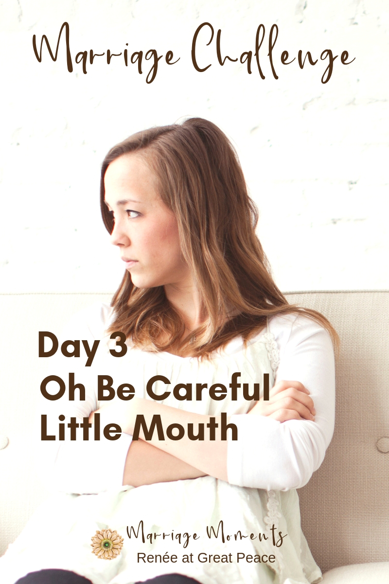 Marriage Challenge Day 3 - Oh be careful little mouth | Renée at Great Peace #MarriageChallenge #marriagemoments #marriage @wives