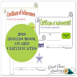 Free Printable 2016 Homeschool Award Certificates | GreatPeaceAcademy.com