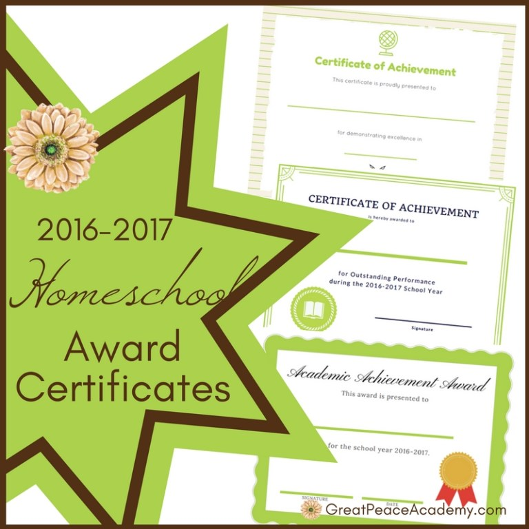 2016-2017 Homeschool Award Certificates   Free Printables   GreatPeaceAcademy.com #ihsnet #homeschool