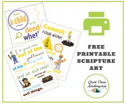 Free Printable Scripture Art for Boys | GreatPeaceAcademy.com #ihsnet #homeschool