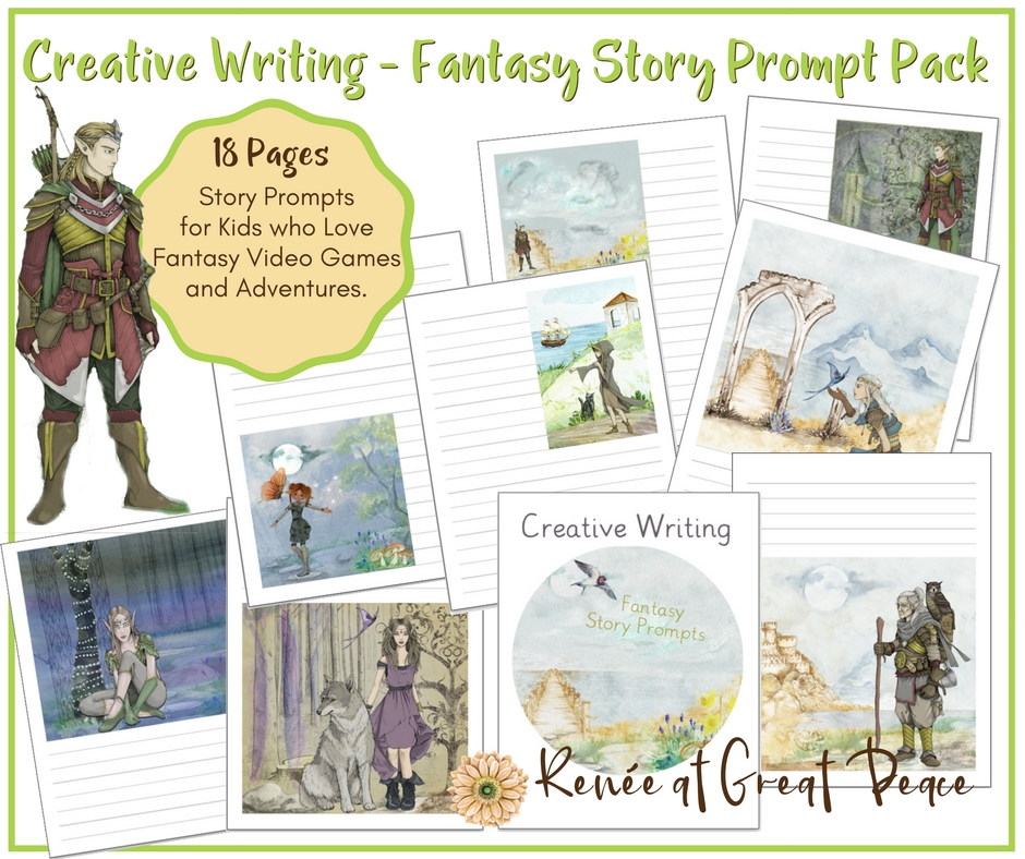 Creative Writing - Fantasy Story Prompts for Homeschoolers | Renée at Great Peace #creativewriting #storyprompts #printables #homeschool