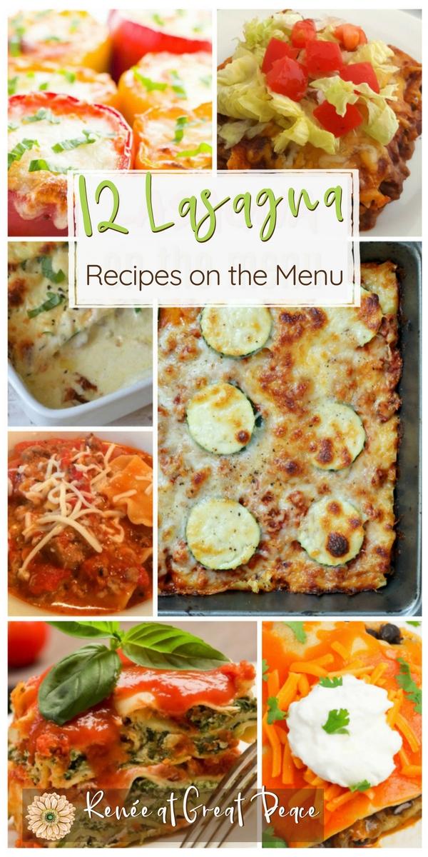 12 Lasagna Recipes for your Menu Planning   Renée at Great Peace #mealplanning #lasagna