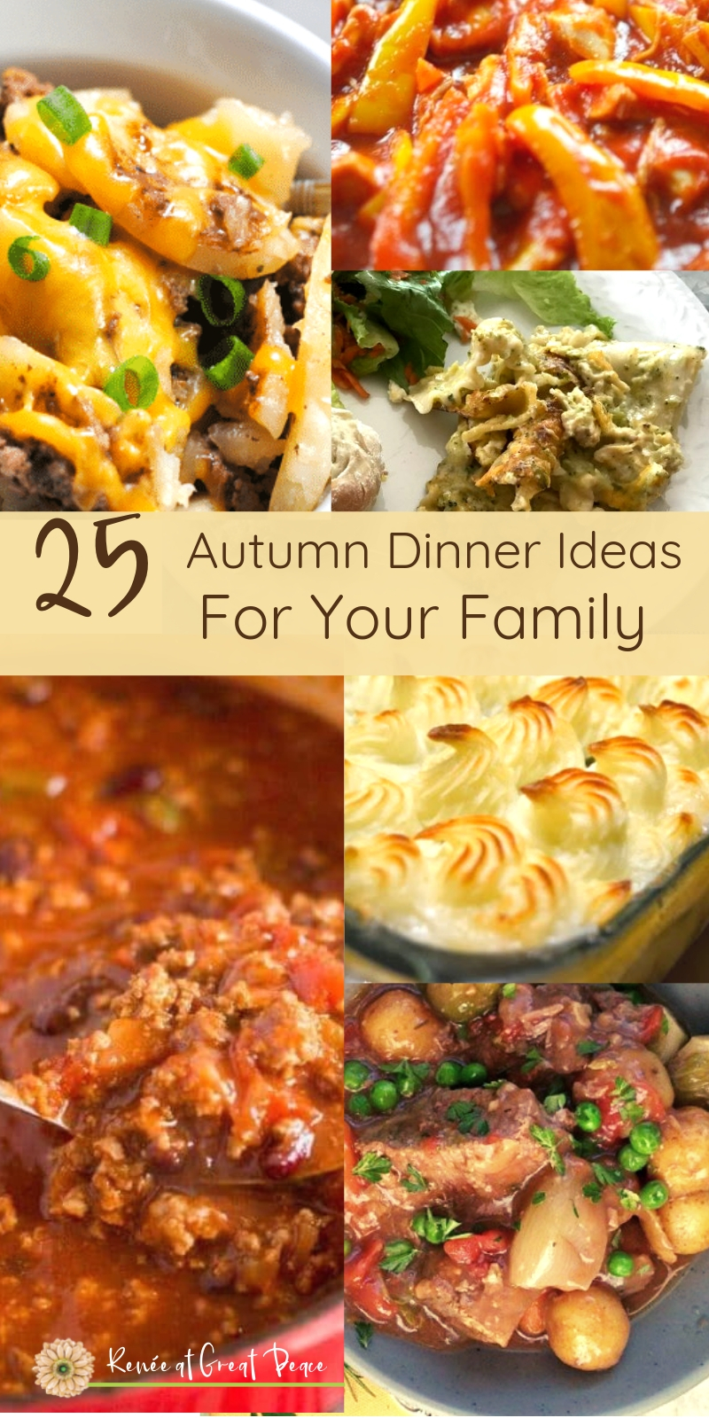 25 Autumn Dinner Ideas for your Family | Renée at Great Peace #mealplanning #autumndinnerideas #dinner