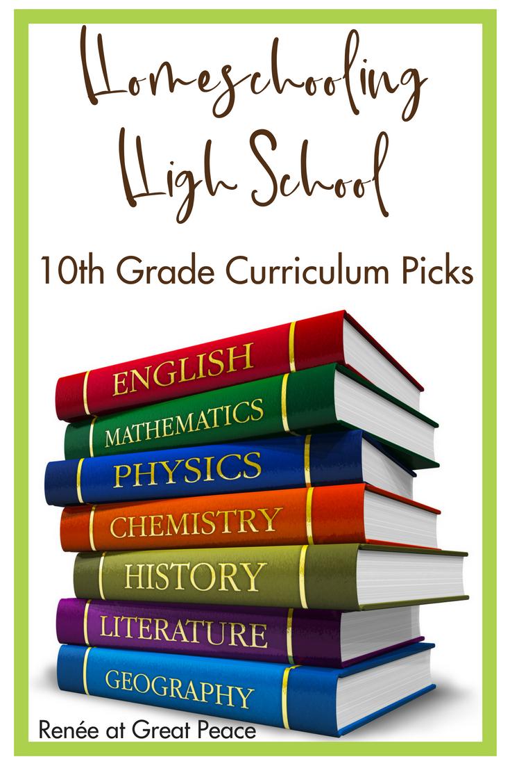 Homeschooling 10th Grade High School Curriculum Picks | Renée at Great Peace #homeschool #ihsnet