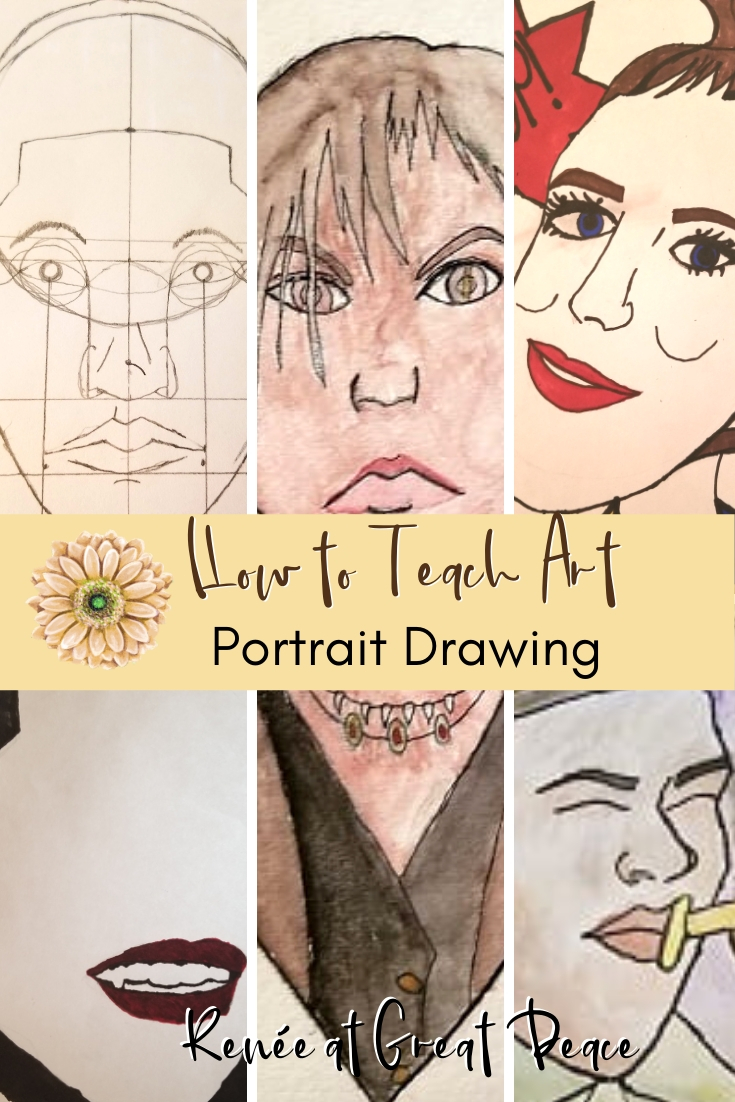 How to Teach Art Portrait Drawings   Renée at Great Peace #homeschoolart #portraitdrawings #art #ihsnet