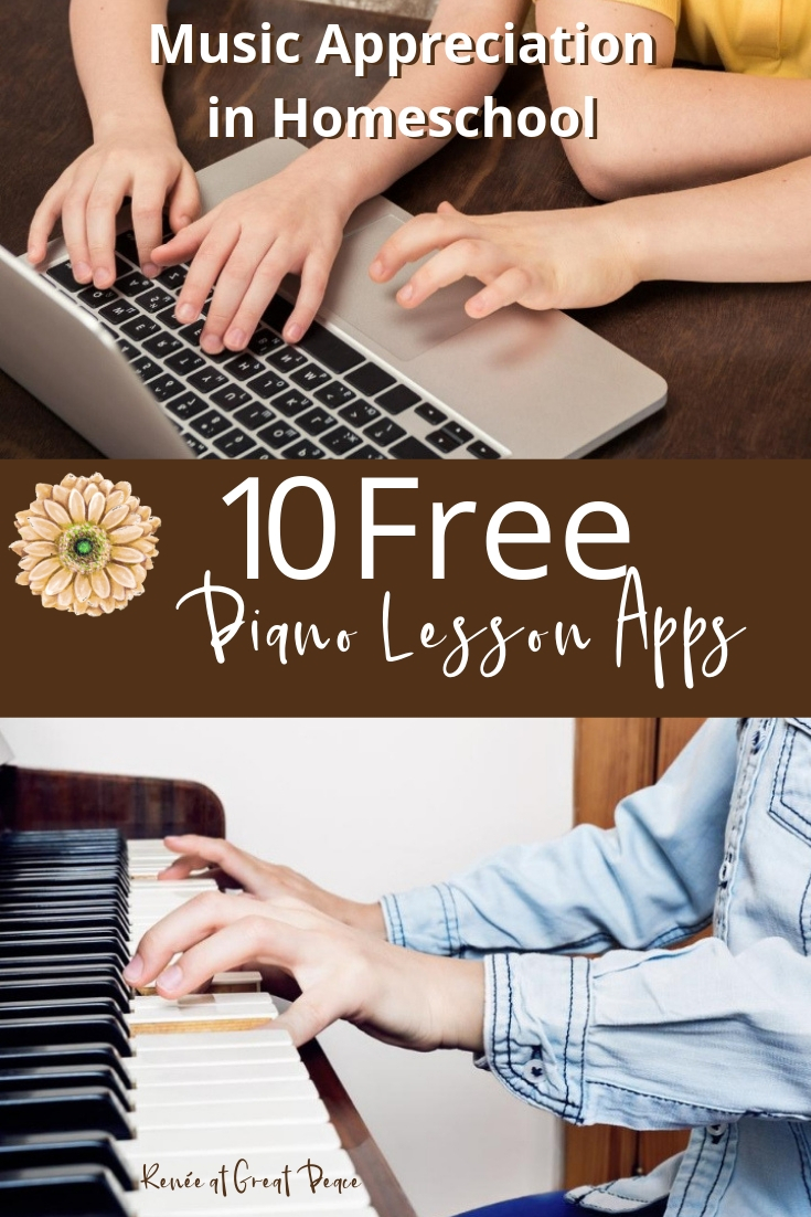 Music for Homeschool Using 10 FREE Piano Lesson Apps via Renée at Great Peace #homeschool #musicappeciation #pianolessons #ihsnet