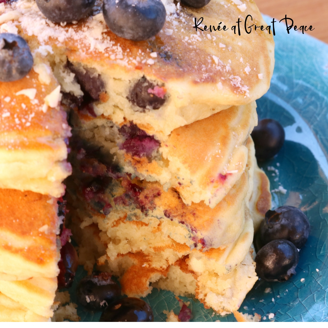 Family Breakfast Idea - Blueberry Pancakes with White Chocolate Morsels | Renée at Great Peace #familybreakfast #breakfast #pancakes