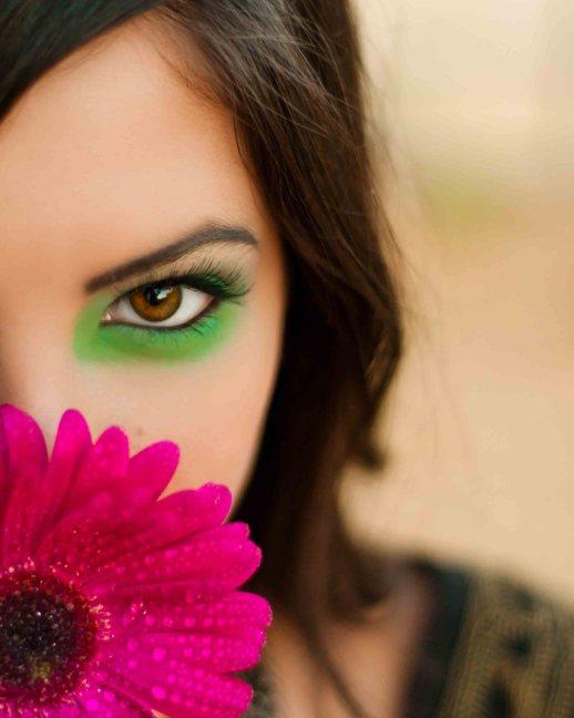Green eye shadow, pink flower - Senior Portrait by Renee Bowen