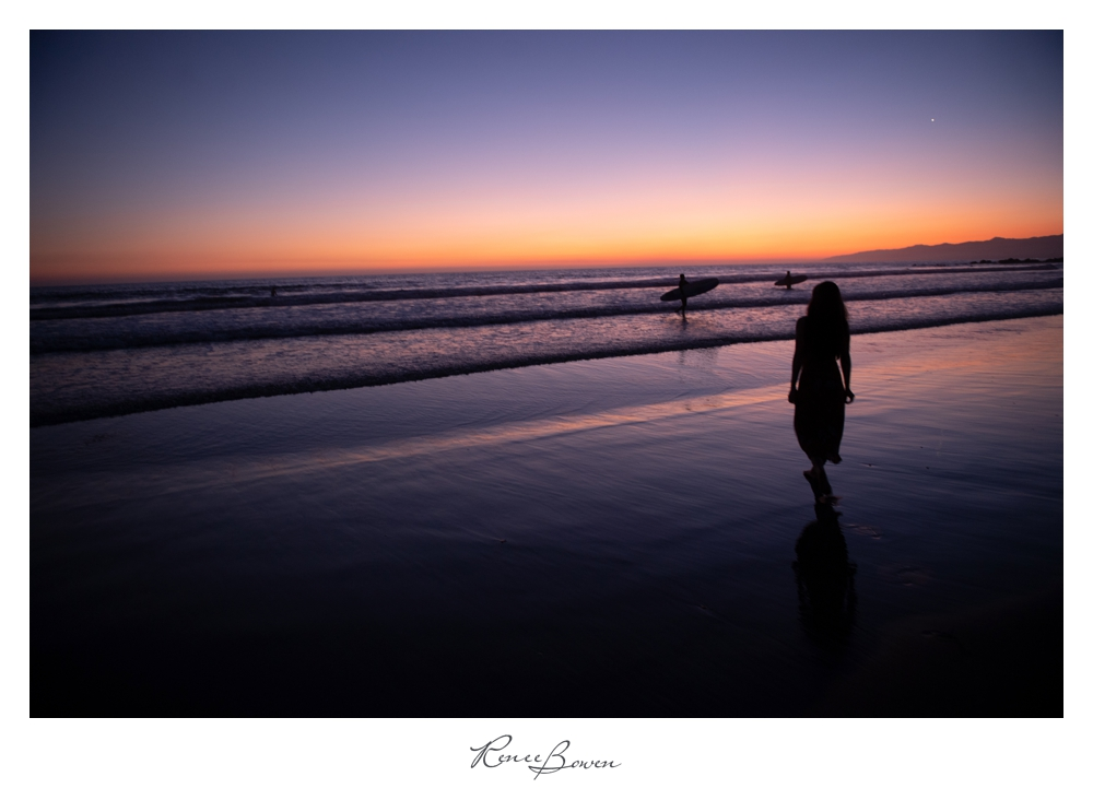 gen z podcast girl on the beach at sunset