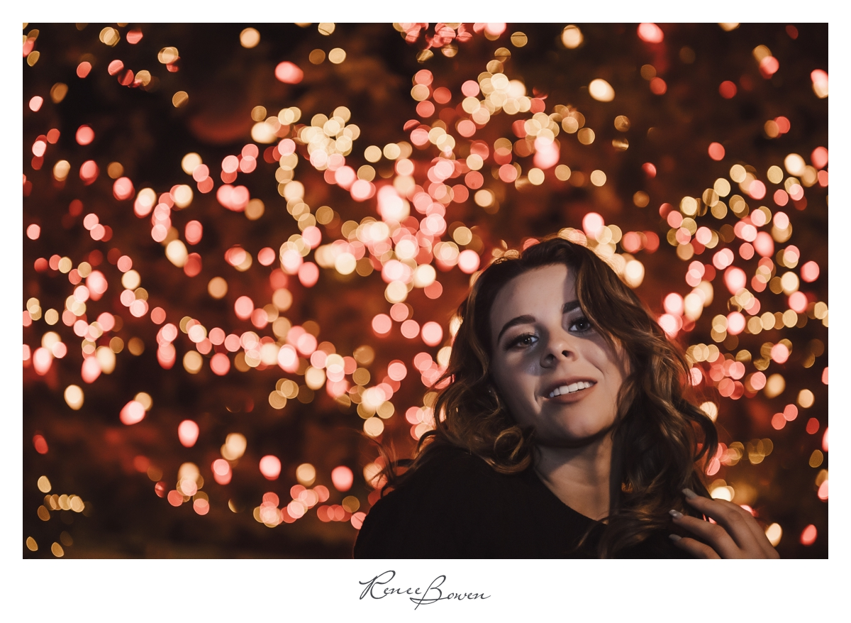 gen z podcast girl twinkle lights