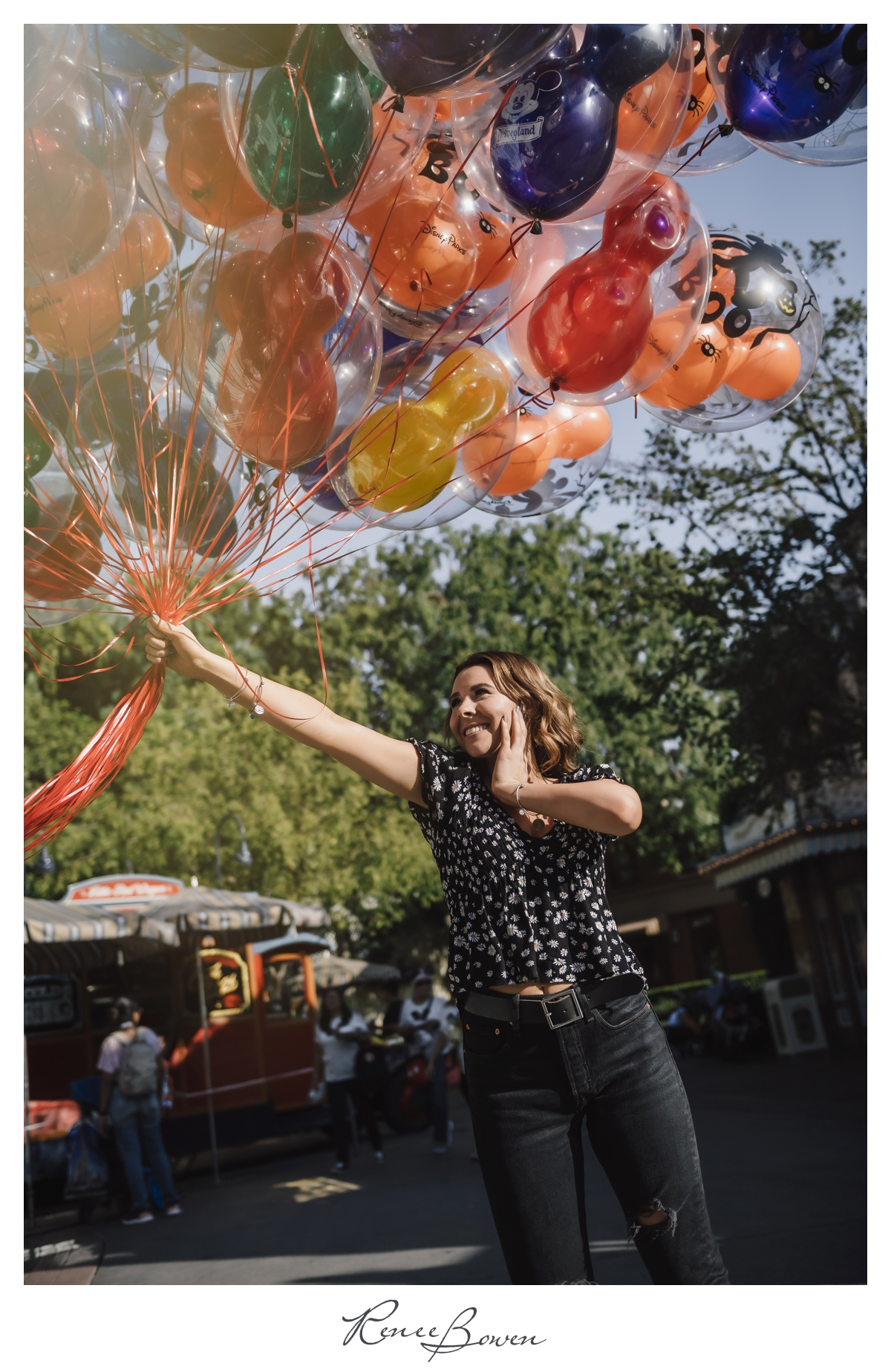 gen z podcast girl with balloons