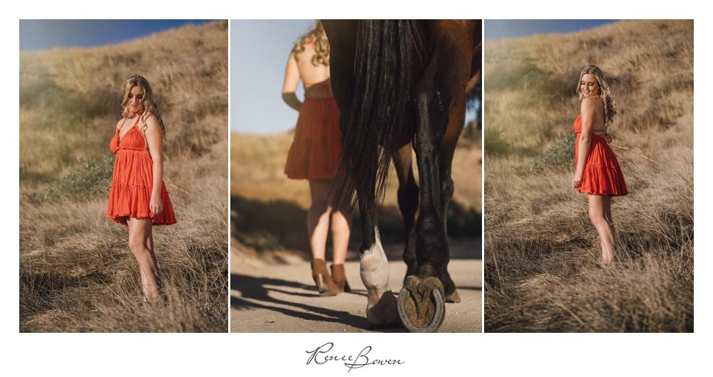 gen z podcast girl in red dress walking her horse