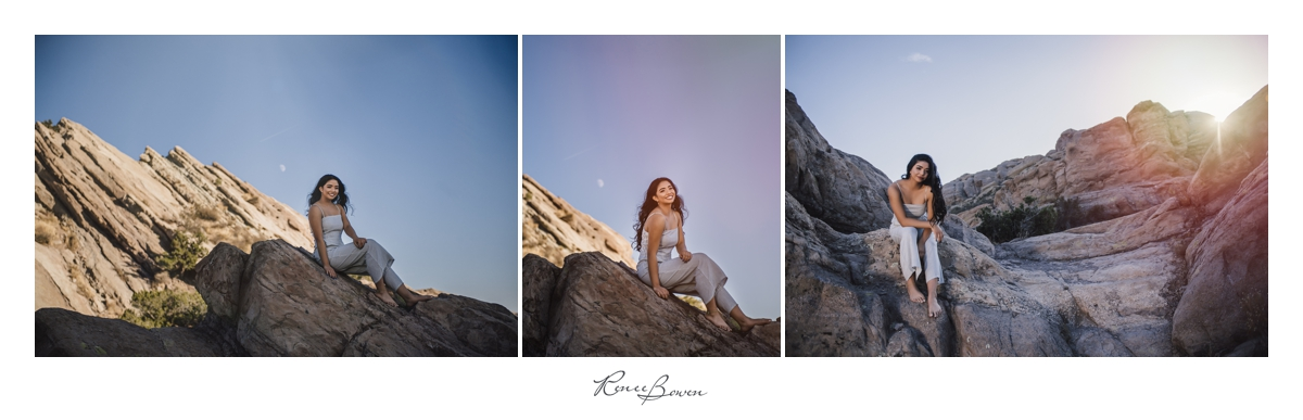 gen z podcast girl sitting on rocks