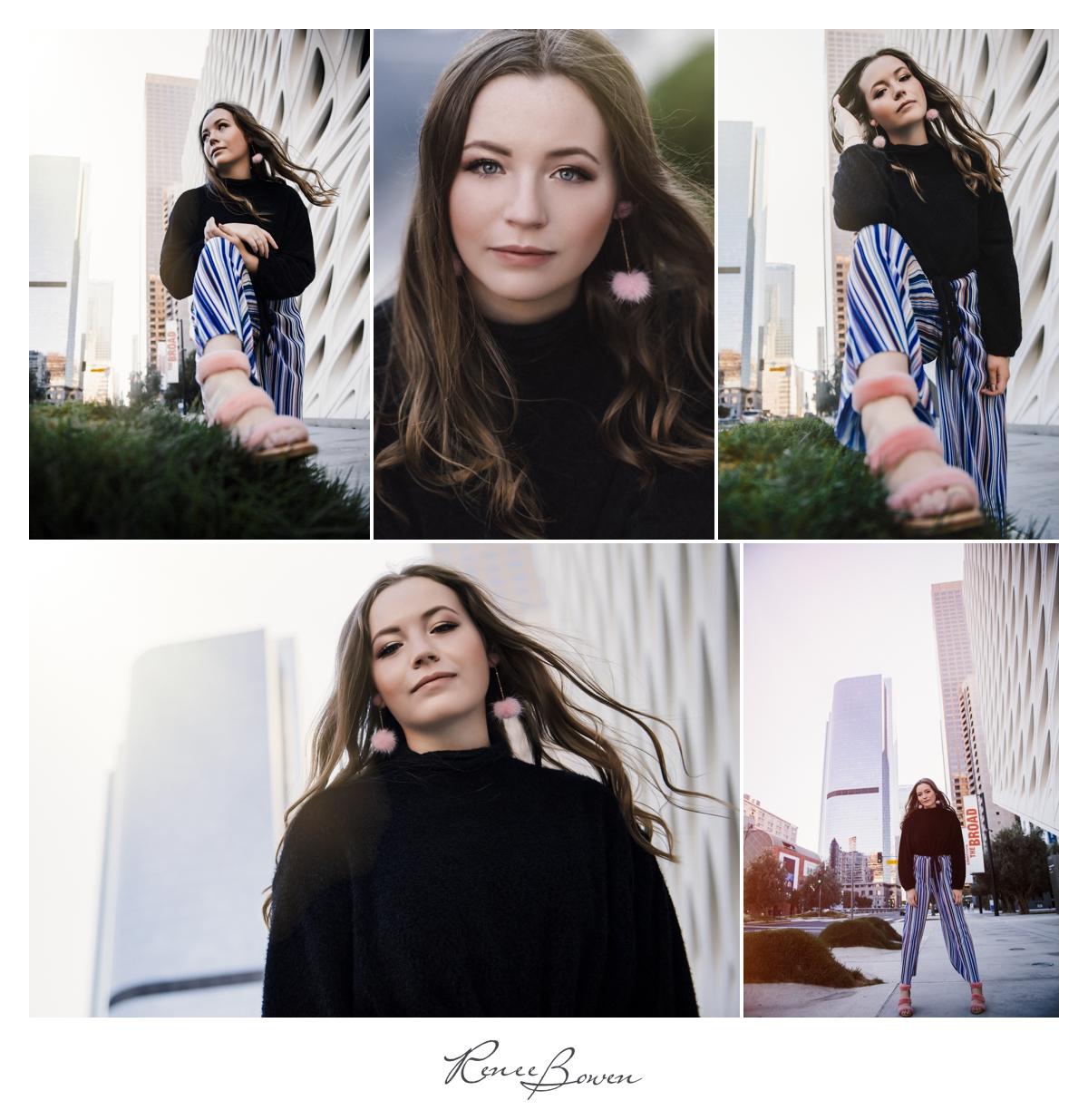 girl in black sweater on street los angeles