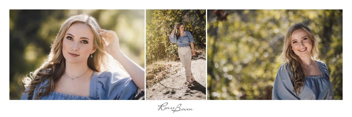 girl with blue shirt boho style nature