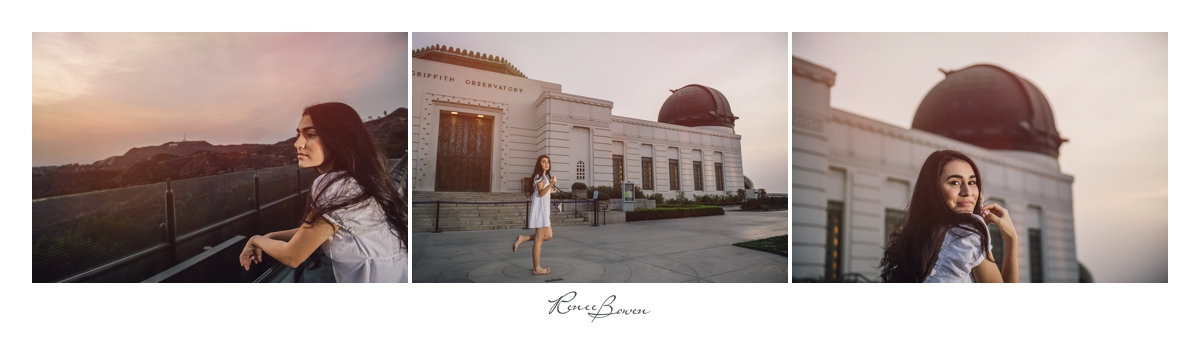 girl in front of griffith observatory