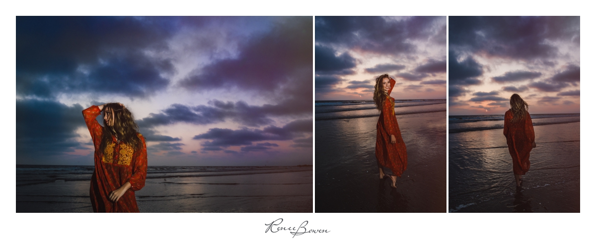 girl in dress on beach sunset