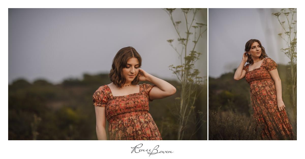 girl in floral dress senior pics