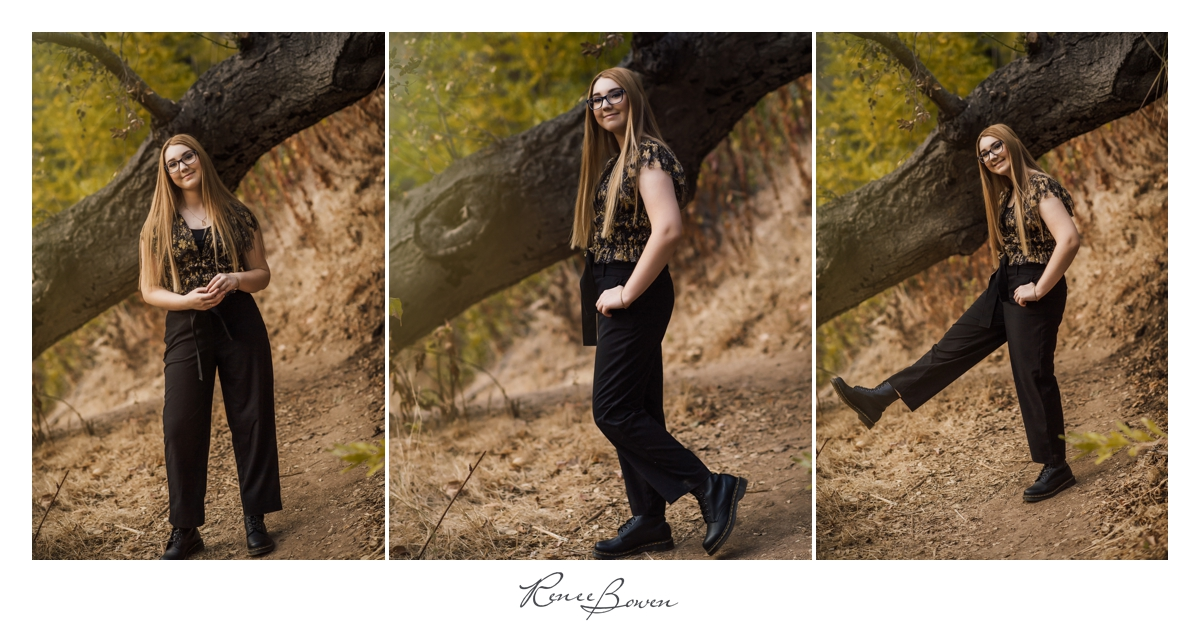 girl in nature with black pants
