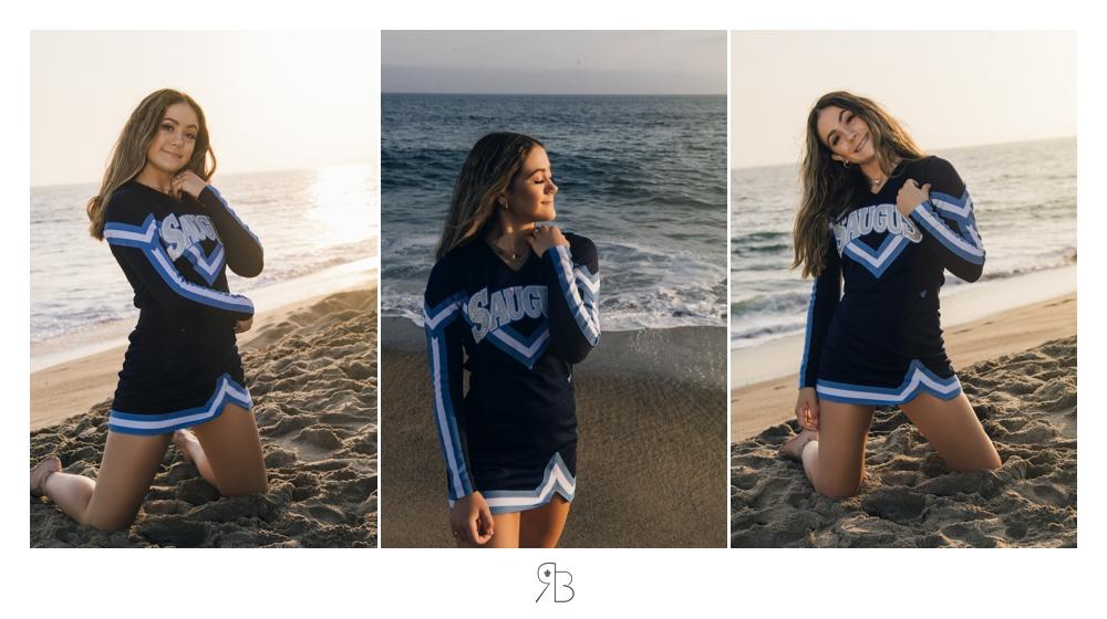 senior girl in cheerleading outfit on the beach backlit renee bowen seniors