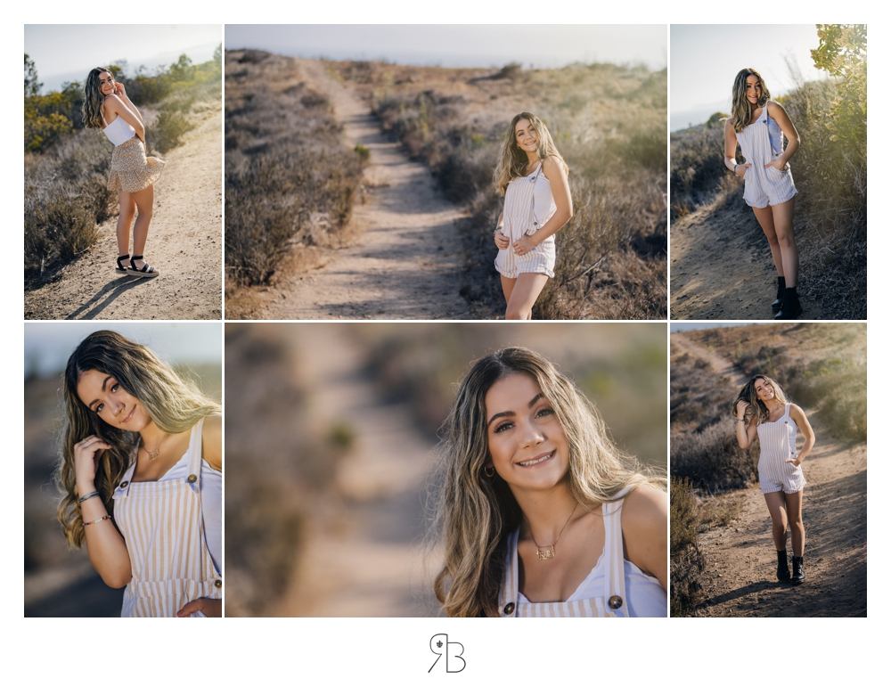 girl in outdoor setting wearing cream stripped short overalls country road Renee Bowen Seniors