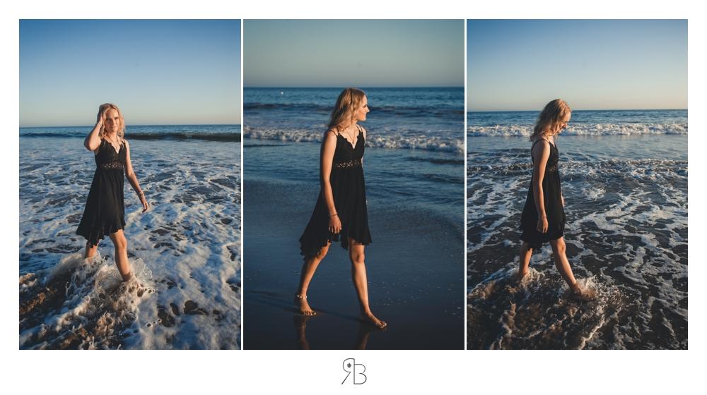 girl at beach wearing black sundress Renee Bowen Seniors