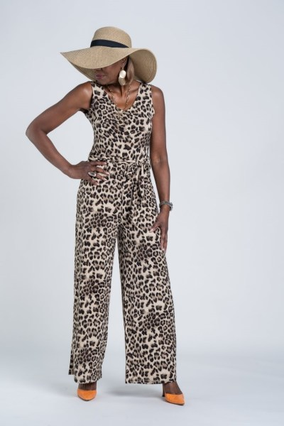 Attitudes by Renee Sleeveless Como Jersey Belted Jumpsuit & Straw Hat
