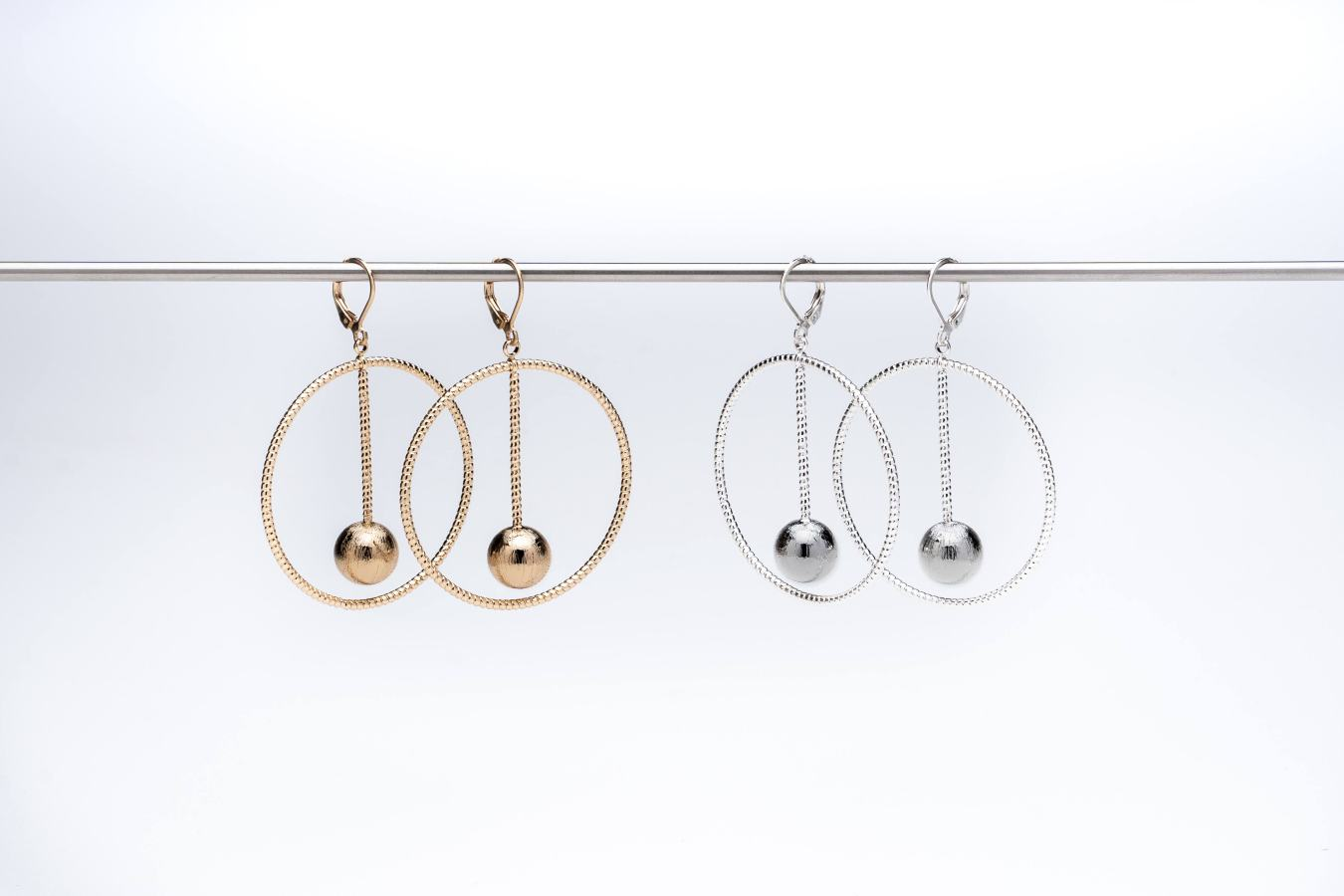 Set of diamond cut hoop with ball drop