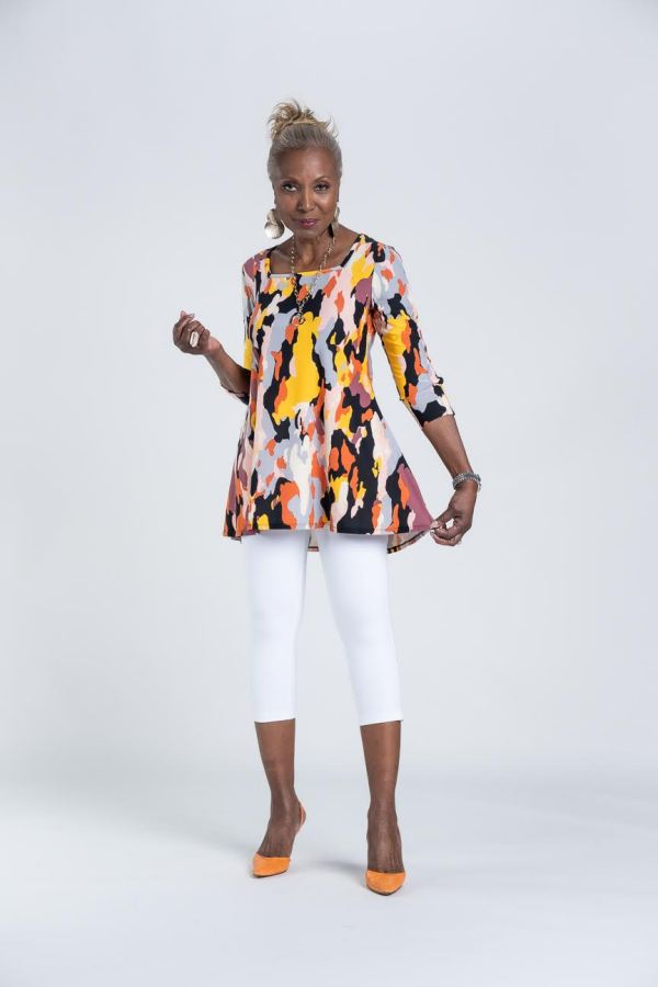 Shop Attitudes by Renee Como Jersey Square-Neck Printed Tunic