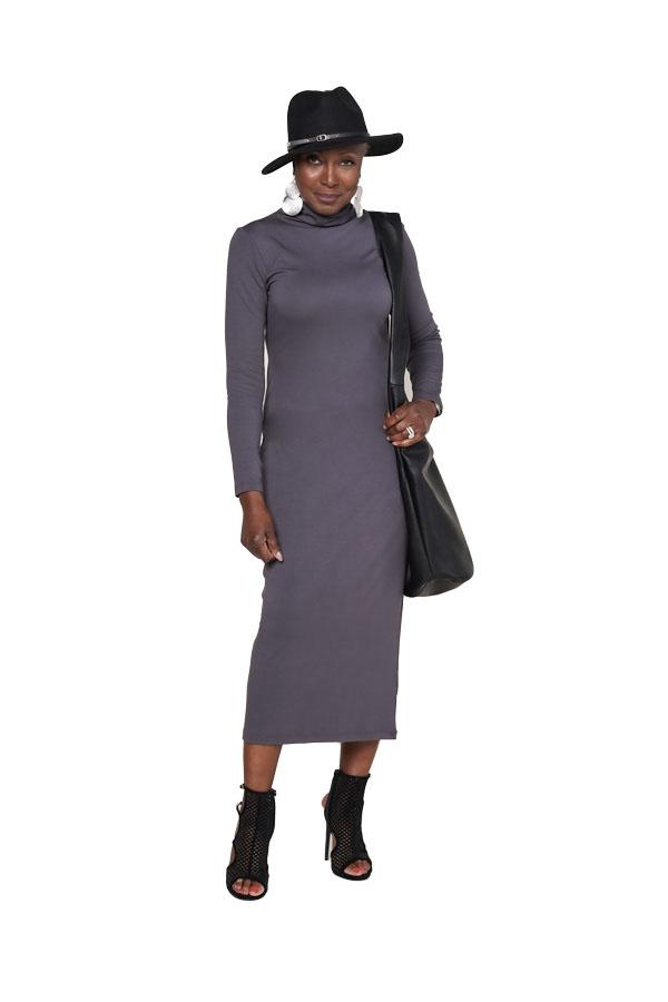 Wardrobe Warrior Favorite - Finespun mockneck dress, Faux leather hobo bag, Double round wafer earrings