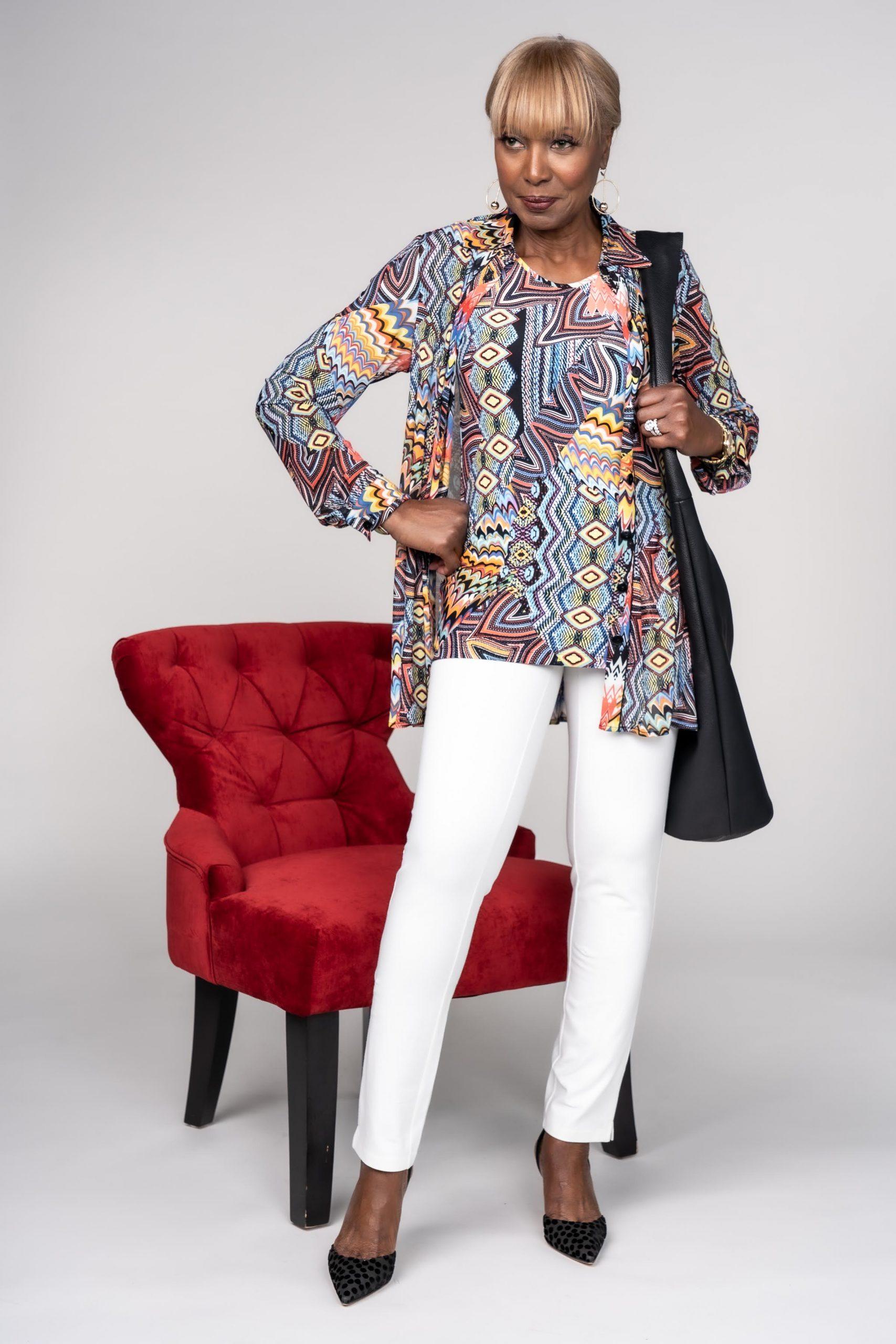 Kaleidoscope printed mesh jacket and printed como jersey tank with Smooth and Sleek™️ Slim Leg Pants in chalk white
