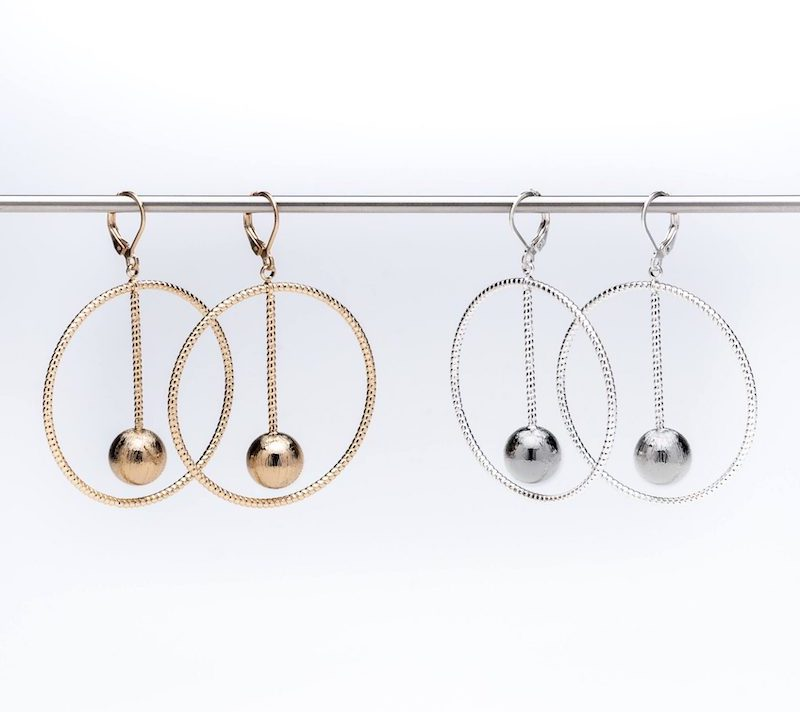 Set of 2 - Hoops with Floating Ball Earrings