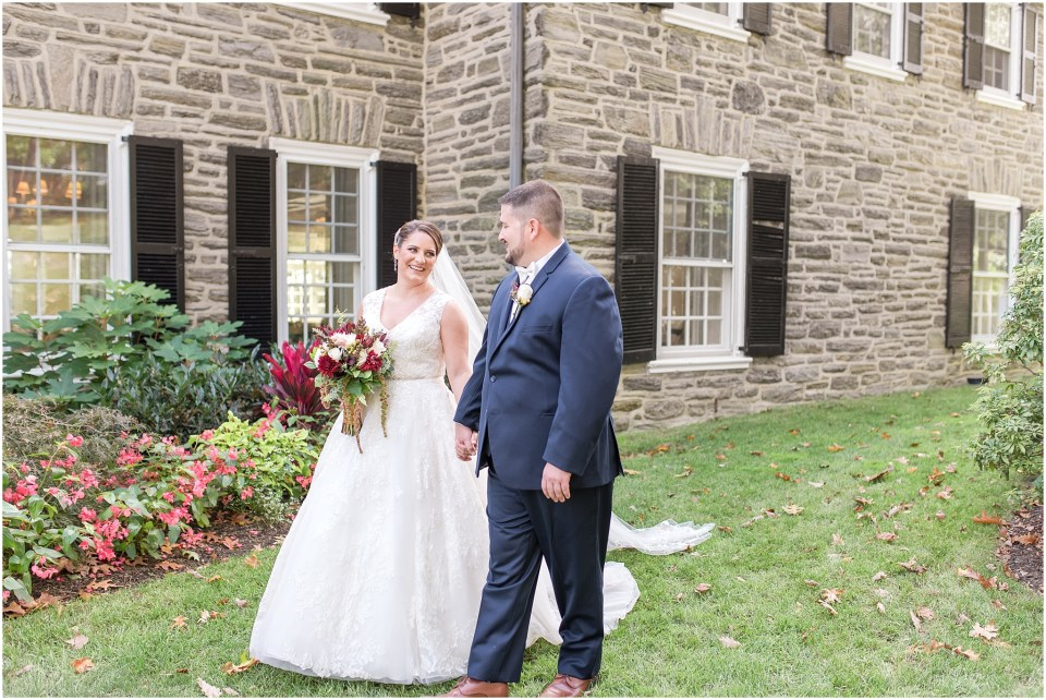 Fall Manufacturers' Golf and Country Club Wedding. Fort Washington, PA Wedding Venue. Montgomery County, PA Wedding Venue. Fall Wedding. Bride and Groom. Bouquet. Veil. David's Bridal Wedding Dress.
