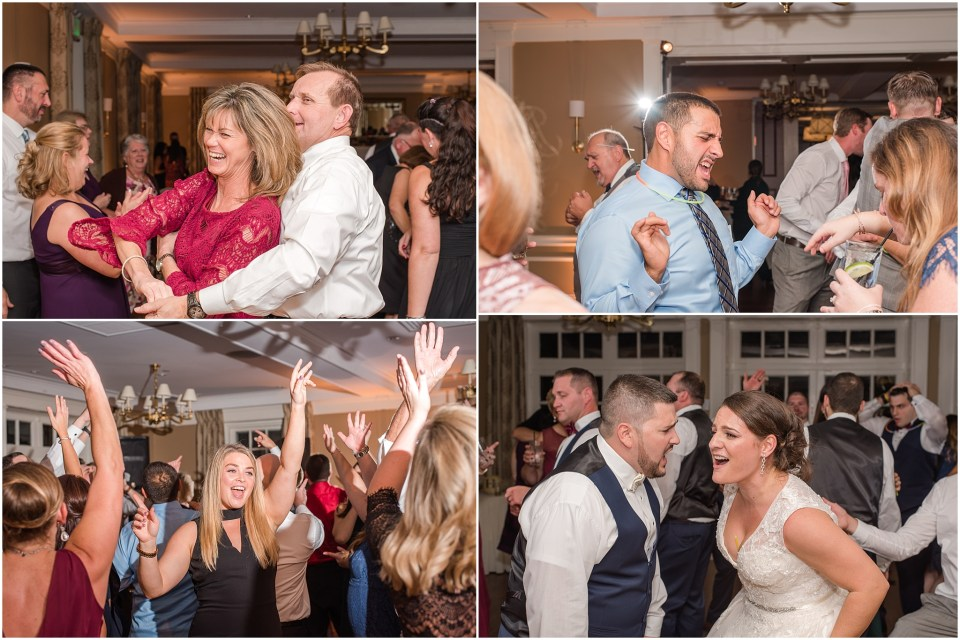 Fall Manufacturers' Golf and Country Club Wedding. Fort Washington, PA Wedding Venue. Montgomery County, PA Wedding Venue. Fall Wedding. Bride and Groom at Ceremony. Wedding Reception. Guests Dancing at Reception.