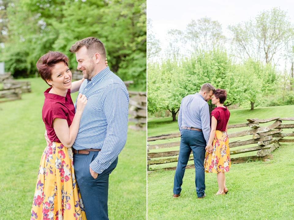 engagement session with bride in colorful skirt photographed by Renee Nicolo Photography