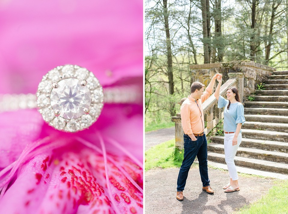 diamond ring photographed during PA engagement session by Renee Nicolo Photography
