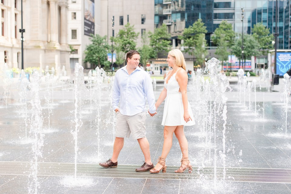 water fountains in Center City with PA wedding photographer Renee Nicolo Photography