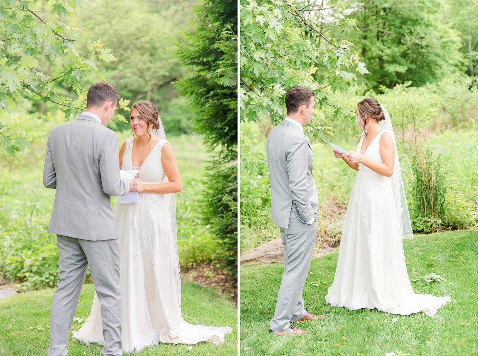 private letter reading on wedding day with wedding photographer Renee Nicolo Photography