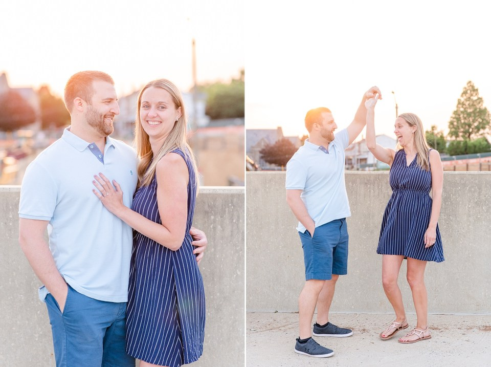 rooftop engagement session photographed by PA wedding photographer Renee Nicolo Photography