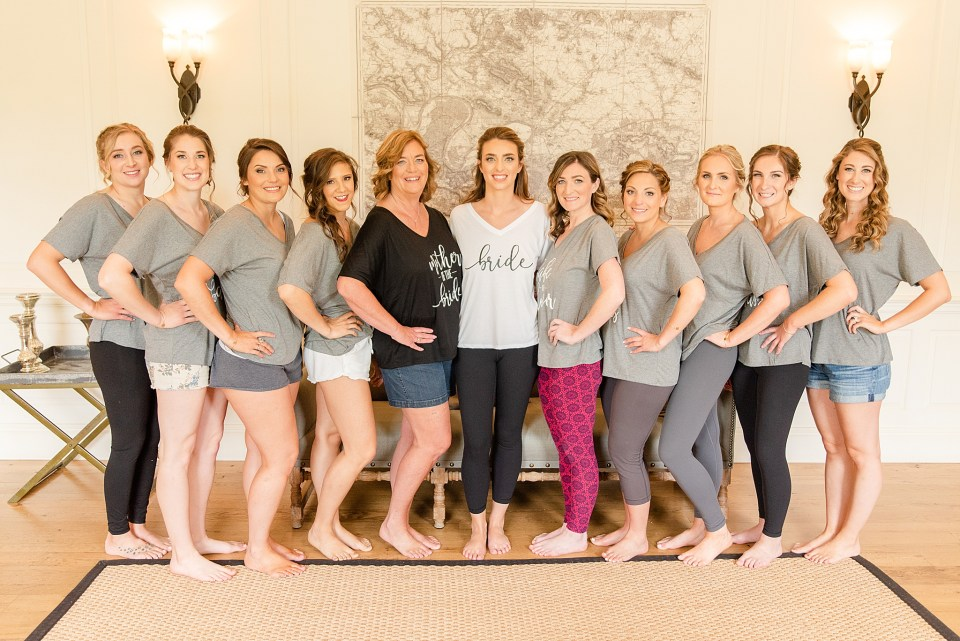 bride squad prepares for French Creek Golf Club wedding day with Renee Nicolo Photography