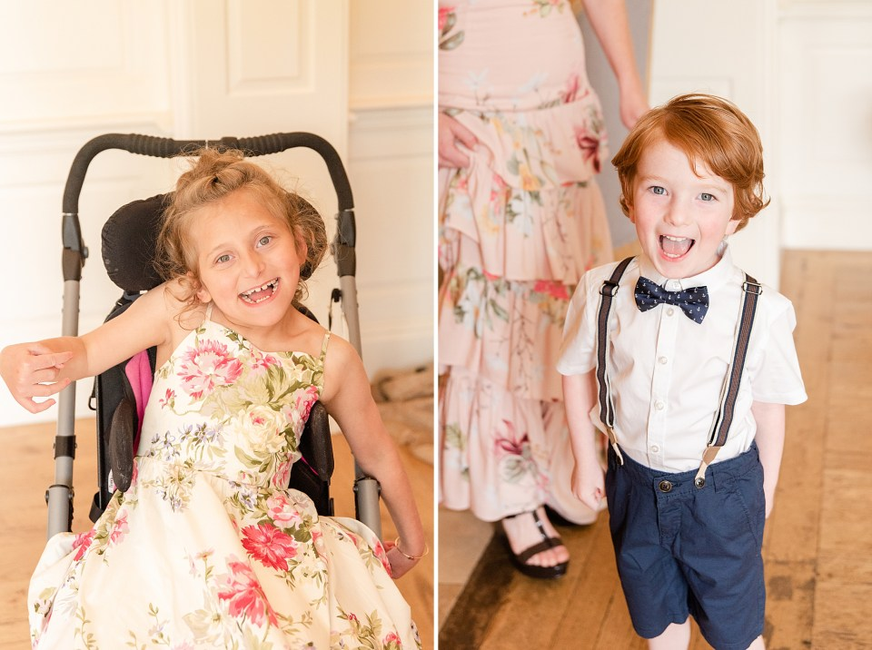 flower girl and ring bearer prepare for French Creek Golf Club wedding with Renee Nicolo Photography