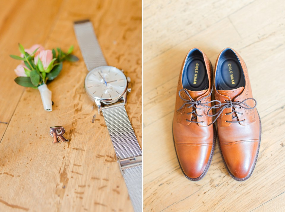 groom's shoes and watch photographed by Renee Nicolo Photography