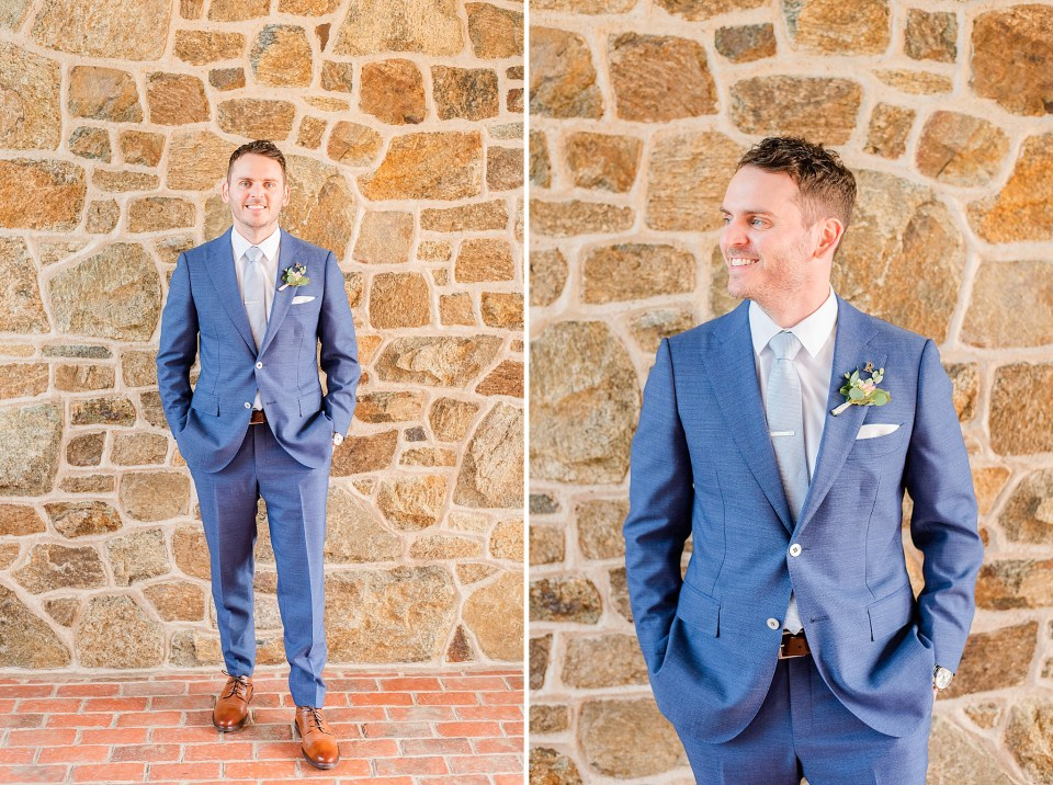 groom in navy suit for French Creek Golf Club wedding day photographed by Renee Nicolo Photography